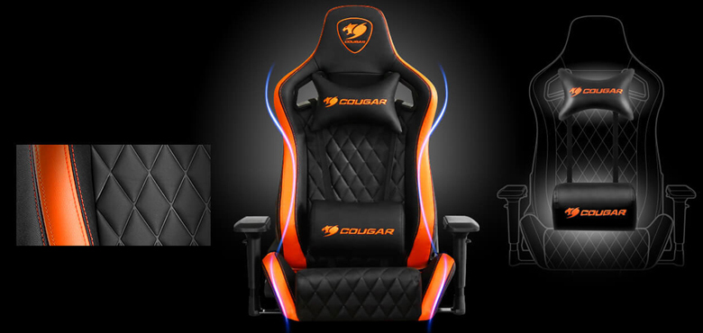 Marvelous Cougar Armor S Orange Luxury Gaming Chair With Breathable Premium Pvc Leather And Body Embracing High Back Design Machost Co Dining Chair Design Ideas Machostcouk
