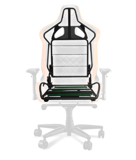 The ARMOR TITAN Gaming Chair facing forward transparent except for the steel frame in the middle