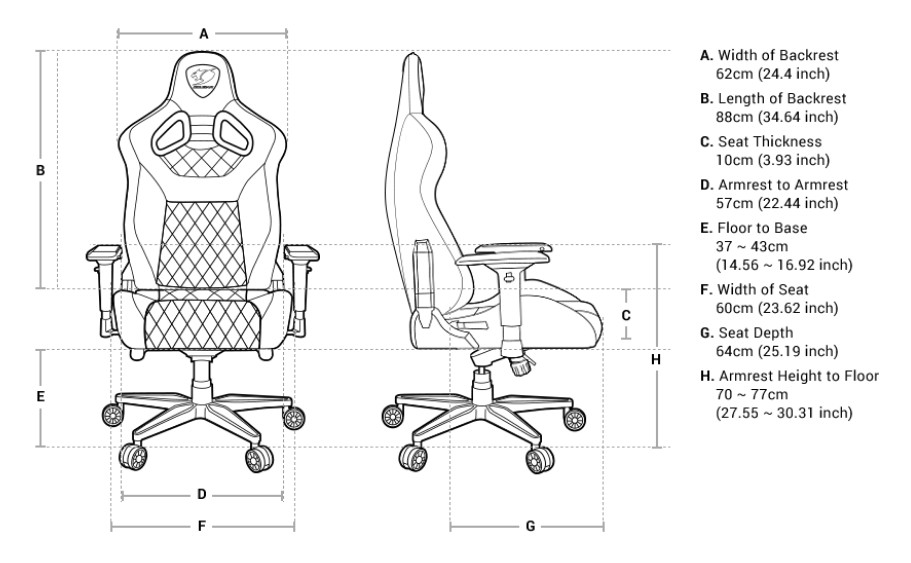 Diagram of the Cougar Armor Titan gaming chair facing forward and to the right. There are 8 marked points from A to H. A. Width of backrest - 24.4 inches (62cm). B. Length of Backrest - 34.64 inches (88cm). C. Seat of Thickness - 3.93 inches (10cm). D. Armrest to Armrest - 22.44 inches (57cm). E. Floor to Base - 14.56-16.92 inches (37-43cm). F. Width of seat - 23.62 inches (60cm). G. Seat Depth - 25.19 inches (64cm). H. Armrest Height to Floor - 27.55-30.31 inches (70-77cm)
