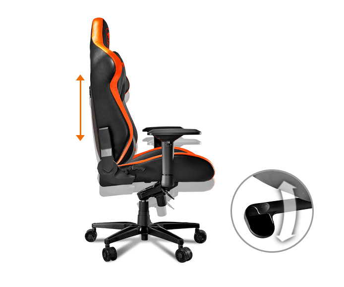 Side Profile of the Armor Titan gaming chair with an orange arrow at its back showing up and down movement for the back rest. There is also a hot spot shot of the lever that controls the action.