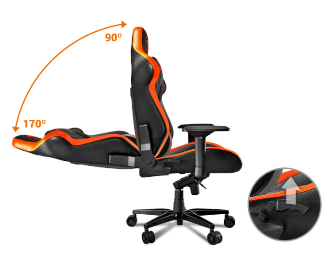 The Cougar Armor Titan gaming chair bending from 170 degrees to 90 degrees. There is also a hot spot closeup of the lever that controls this function.