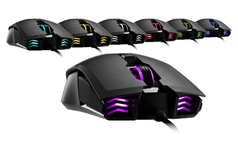 A fleet of Devastator 3 mouses facing toward the viewer in light blue, yellow, white, red, green, blue and purple internal-RGB lighting