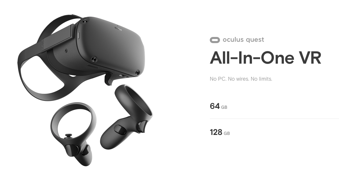 Oculus Quest Banner showing the Product Angled to the Right Along with Text That Reads: All-In-One VR, No PC. No wires. No limits. 64GB. 128GB.