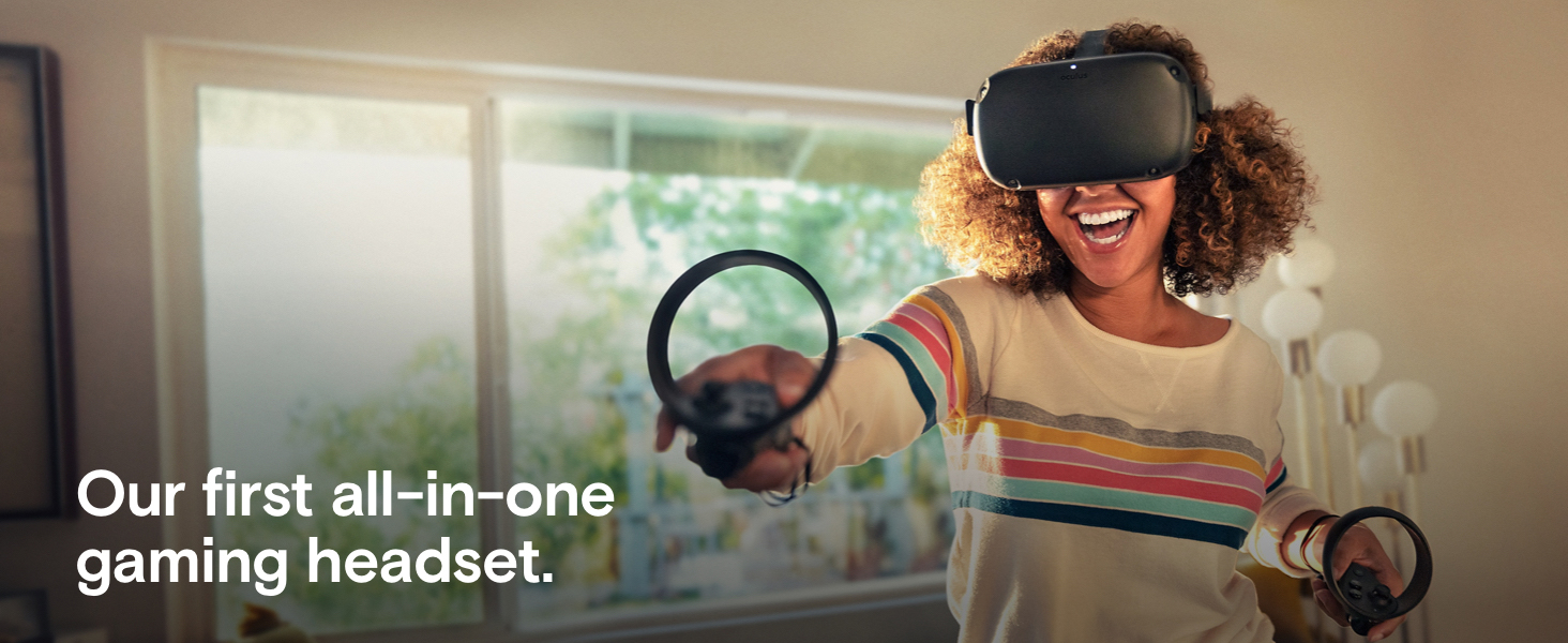 A woman in her home wearing the Oculus Rift S gear while smiling and playing. There is text that reads: Our first all-in-one gaming headset
