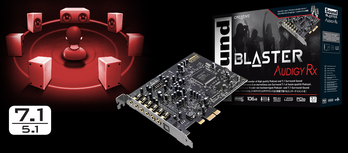Creative Sound Blaster Audigy RX 7 1 PCIe Sound Card with 600 ohm Headphone  Amp - Newegg com