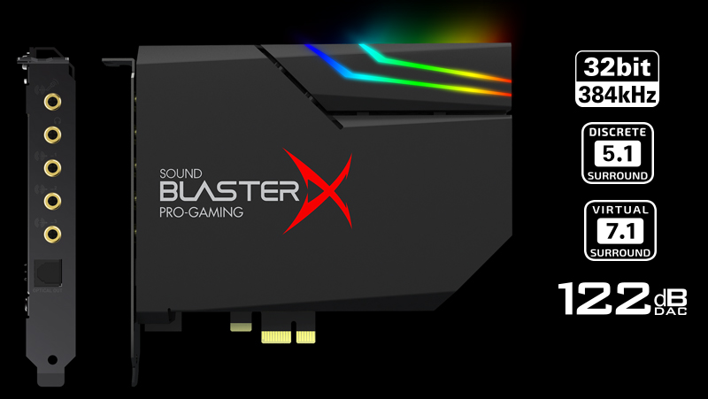Creative Sound BlasterX AE-5 RGB 5 1 Discrete / 7 1 Virtual Surround Pro  Gaming PCIe Sound Card - Newegg com