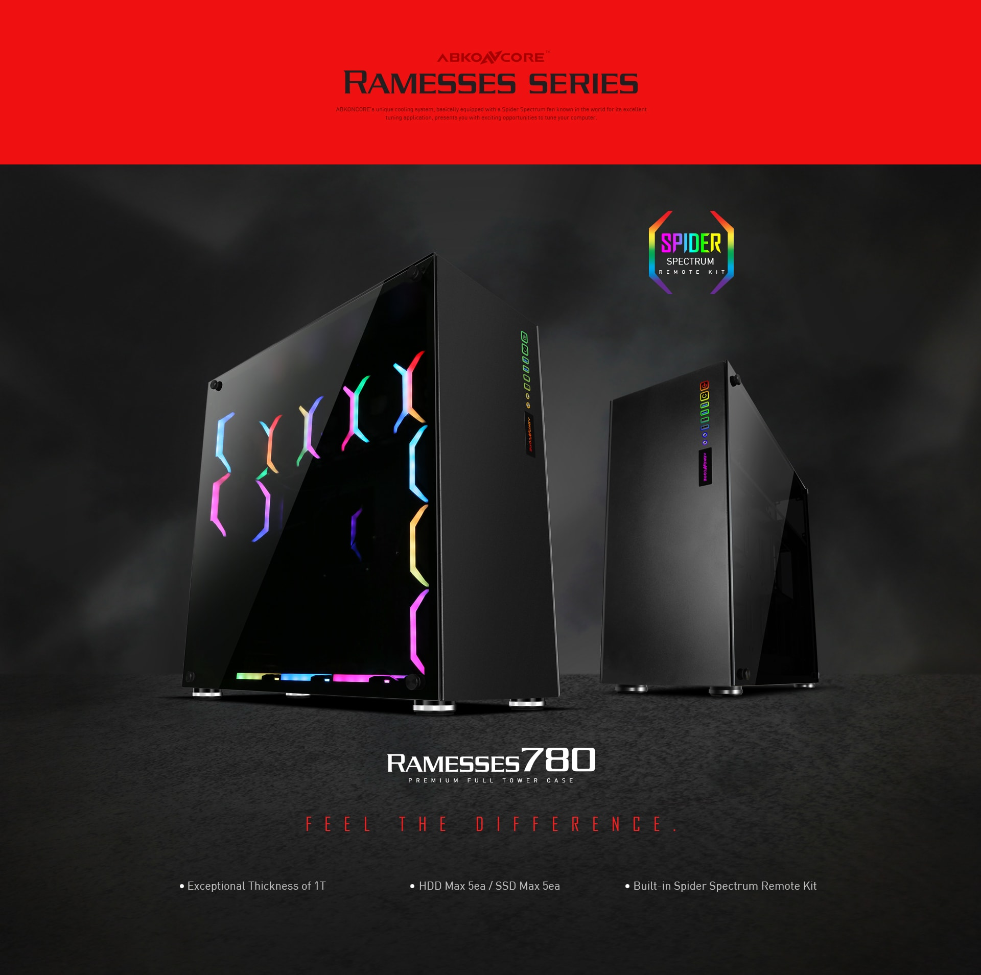 ABKO NCORE - Ramesses 780, E-ATX Full Tower, 12 Pre-Installed Addressable  RGB Spider Fans, Tempered Glass Sides Panels - Newegg com