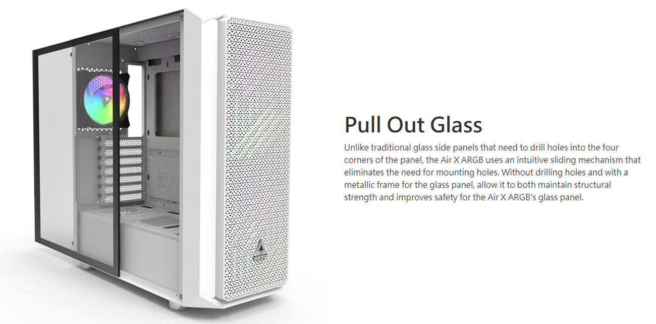 Pull Out Glass// Metallic Diamond Mesh Front Panel// 200 mm ARGB Fans2 /& 120mm ARGB Fan1 Pre-Installed Black ATX Mid-Tower Case// Super High Airflow// Tempered Glass Side Panel Montech Air X ARGB