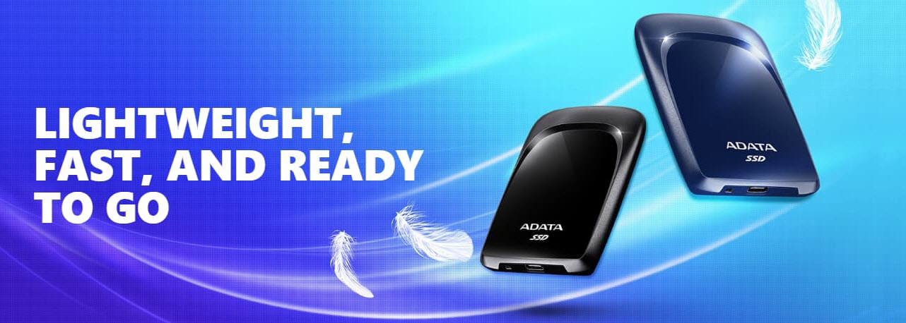 ADATA SC680 External Solid State Drive, blue and black finishes with two feathers in the background