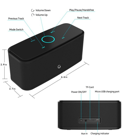 DOSS Touch Wireless Bluetooth V4.0Portable Speaker