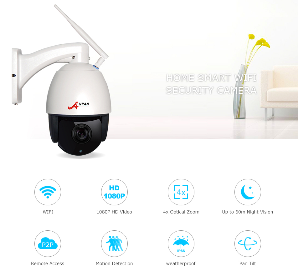 ANRAN PTZ Wireless Surveillance IP Camera Home Security System with