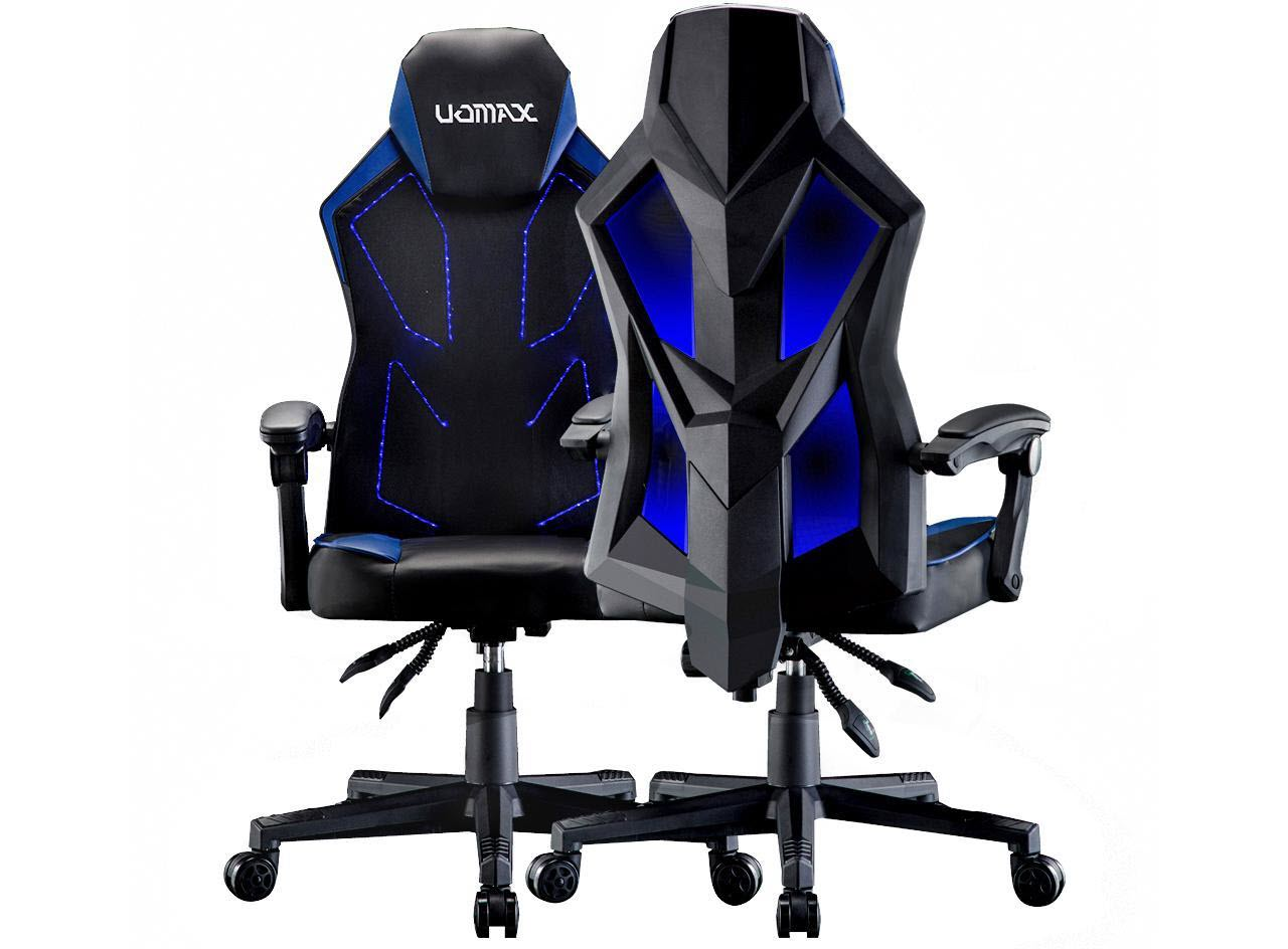 Uomax Gaming Chairs Ergonomic Computer Chair For Gamer Reclining Racing Chair With Led Lights Armrests And Lumbar Cushion Blue