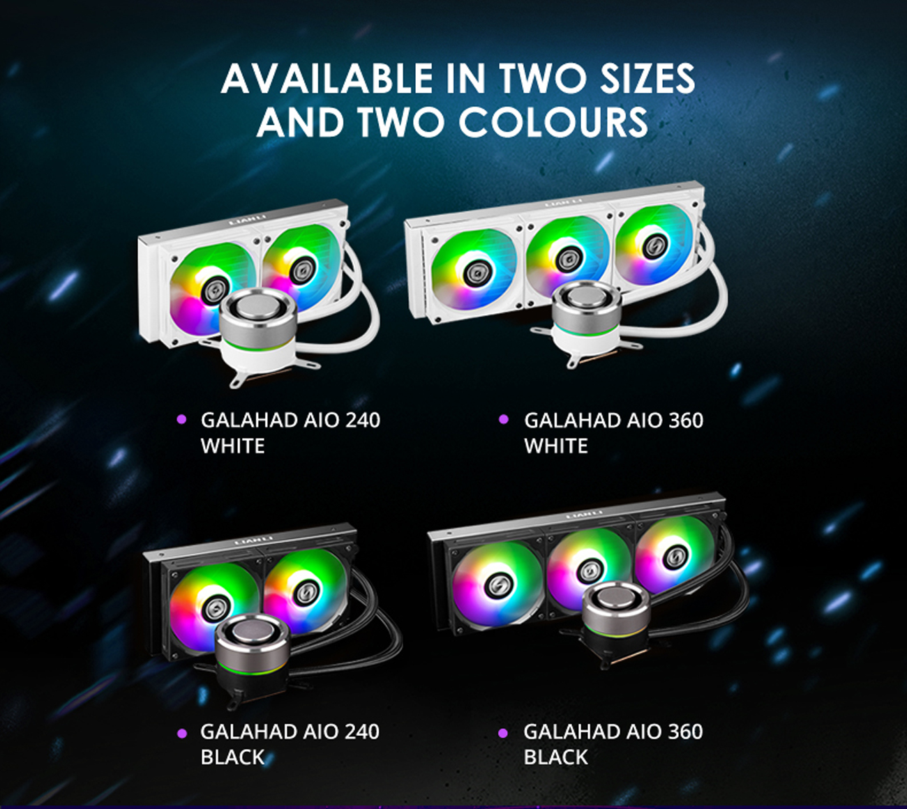 LIAN LI GALAHAD AIO240 RGB BLACK, Dual 120mm Addressable RGB Fans AIO CPU  Liquid Cooler - Newegg.com