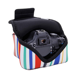 DSLR Camera Sleeve Case with DuraNeoprene Technology , Accessory Storage and Strap Openings by USA GEAR - Striped