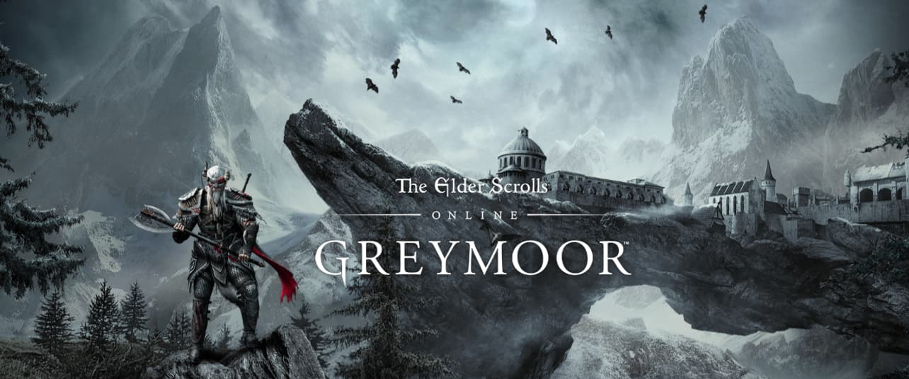 main banner for The Elder Scrolls Online: Greymoor showing a soldier standing againt the background of a castle
