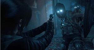 A screenshot of Lara pointing a gun at a guy with ilumilating eyes