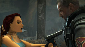 A screenshot of a woman poiint a gun at a man at close range