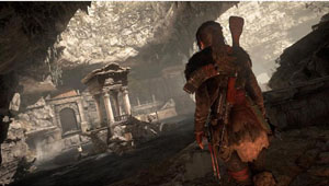 A screenshot of a womoan walking toward rubble with a gun worn on her back