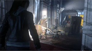 A screenshot of Lara entering a room fullof old items such as painting, desk, and more