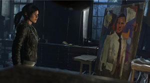 A screenshot of Lara looking at something while a painting of a man is near her
