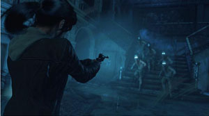 A sccrenshot of Lara pointing gun at several people with illuminating eyes going down a flight of stair