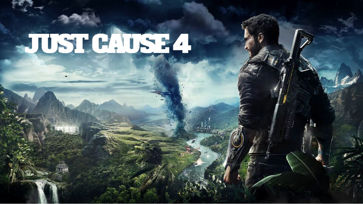 Rico Rodriguez with a rifle on his back is standing at the edge of cliff overlooking mountain ranges on the other side of a river. In the left corner is the name of the game Just Cause 4.