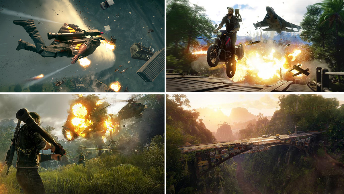 Four pictures are listed together. One is a man flying through fireshots. One is driving a motorbike with explosion and a helicopter behind. One is a man holding a large gun with a helicopter exploding at a near distance. The last one is an airial view of an old bridge.