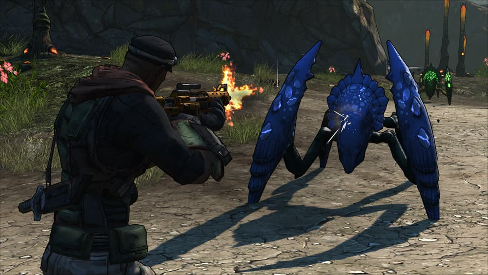 Borderlands Game of the Year Edition Screenshot Showing a Player Facing off Against a Crab-like Blue Alien