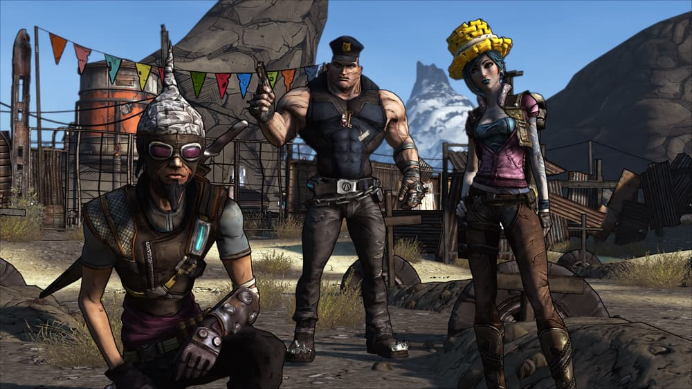 Borderlands Game of the Year Edition Screenshot Showing Three Players Posing Towards the Camera