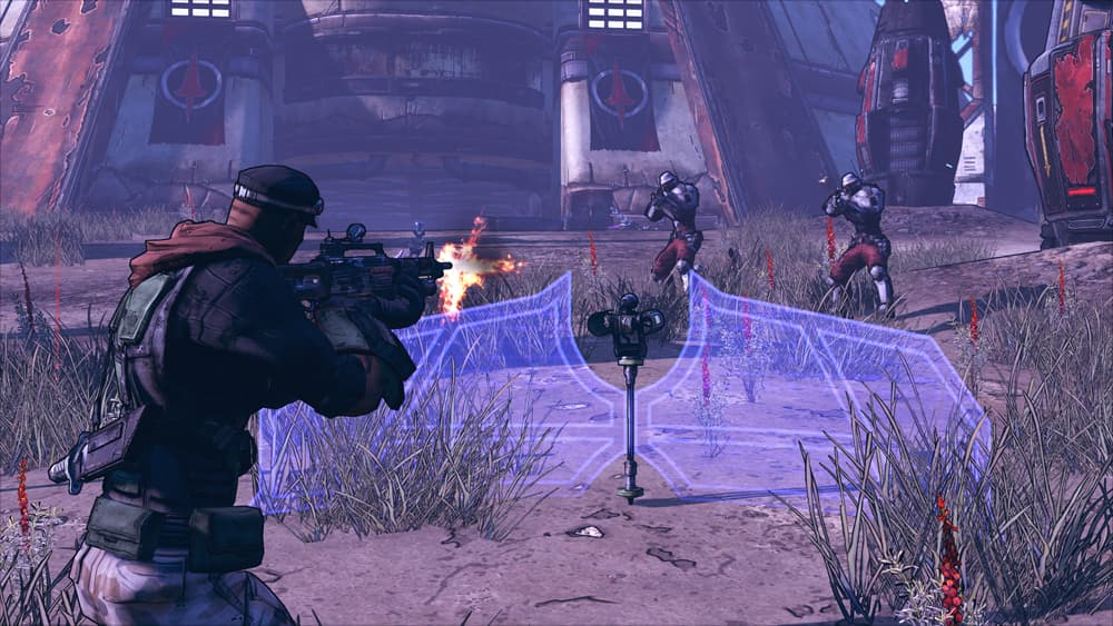 Borderlands Game of the Year Edition Screenshot Showing a Player Approaching an Energy Cover Shield and Two Enemies