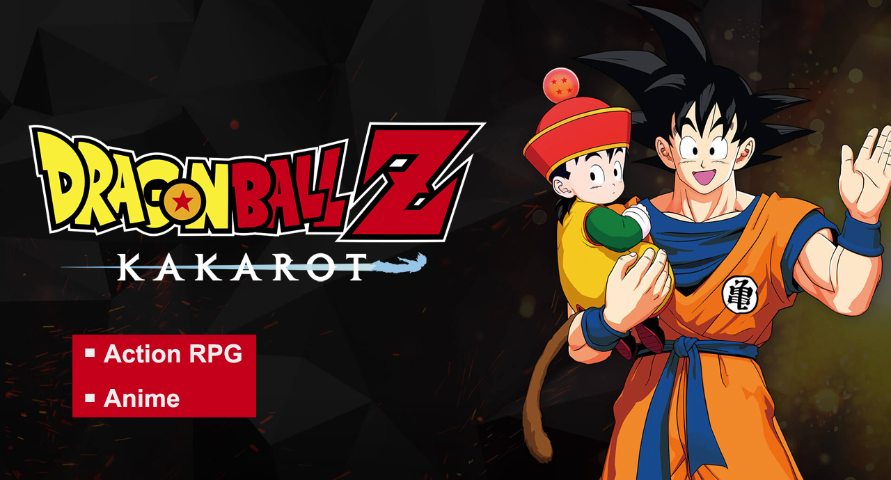 The banner for DRAGON BALL Z: KAKAROT in which Goku is waving with a kid in his right arm.