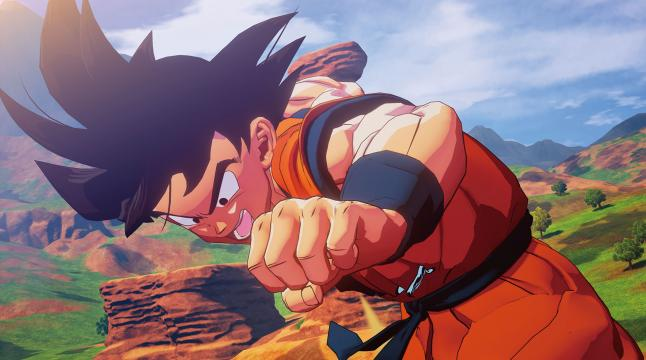 Goku is throwing his right fist.