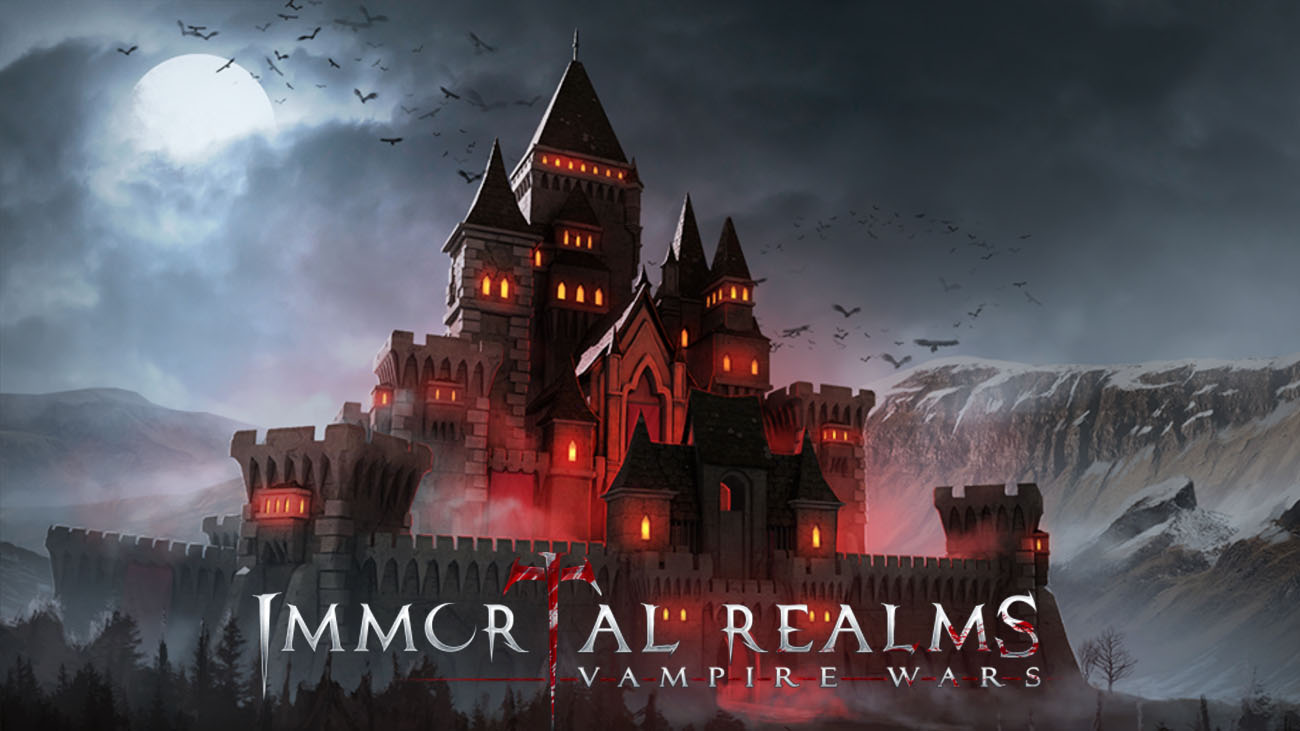 Immortal Realms: Vampire Wars main banner showing a castle in the moon light