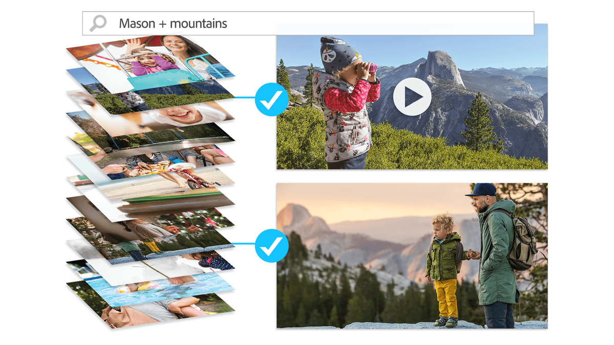auto tagging automatically select picturs featuring Mason and mountains