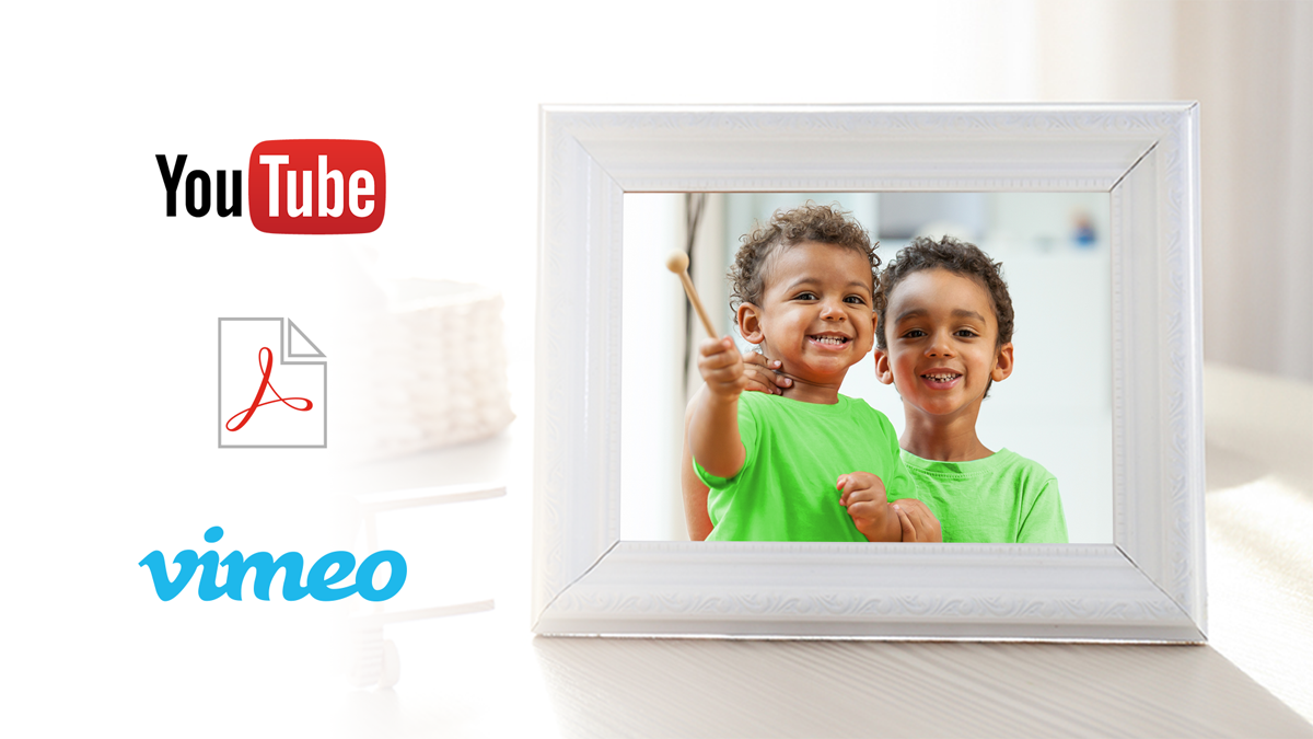 A photo frame of two boys together with YoutTube and vimeo icons