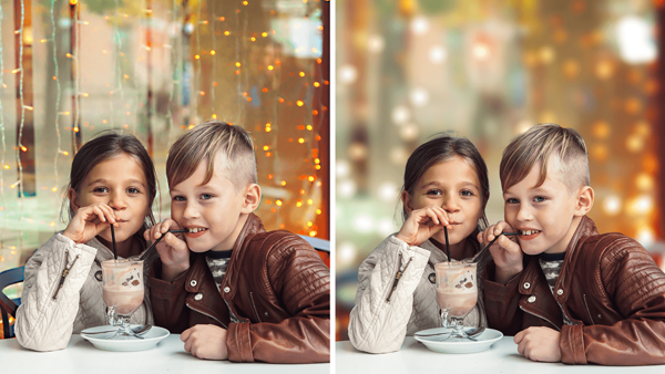A boy and a girl are sipping the same cup of drink and two same pictures are displayed with one having depth effect and the other not