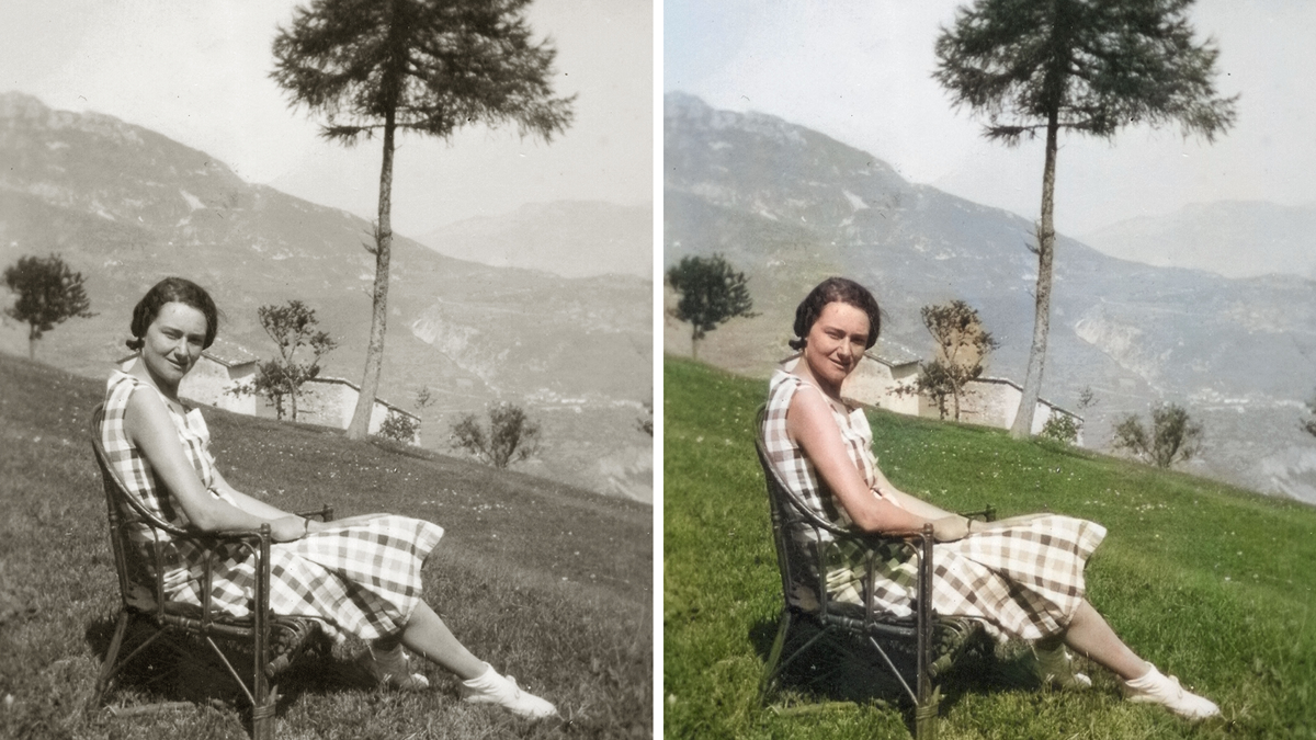 A comparison between a black and white picture and a colorized picture on which a beautiful woman is sitting on a chair in a field