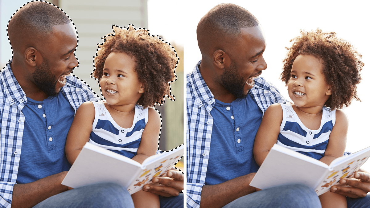 A comparison between two pictures. The pictures shows a father holding her daughter with a book in his hand and his daughter is looking at him. One picture has the two peple selected with the dotted line, while the other picture has background removed.