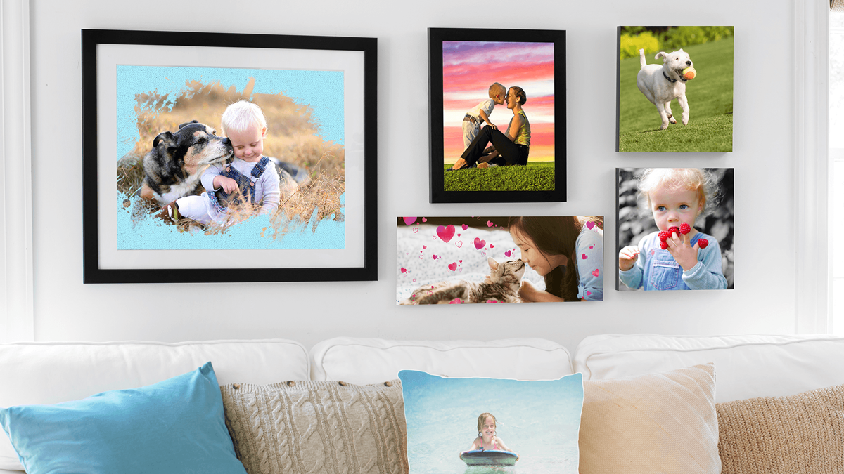 Photos are printed out, placed in frames, and hung on the wall.