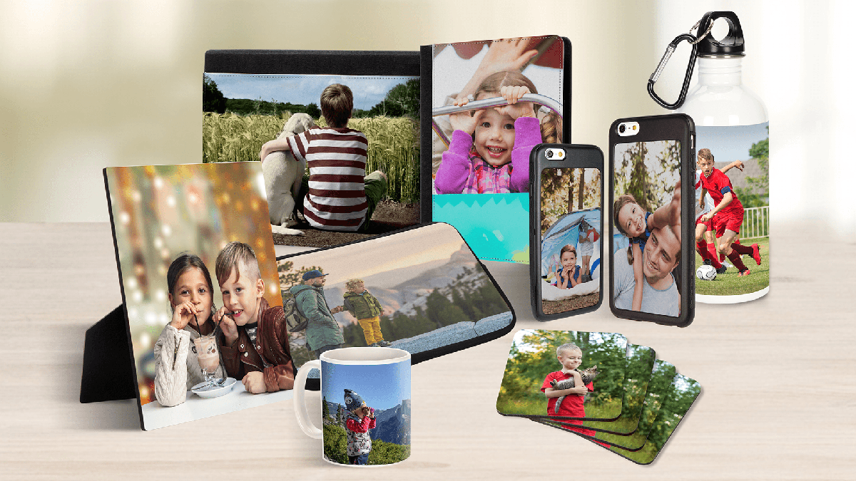 Photos are on mugs, buttles, wallet and everywhere