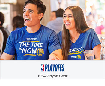 NBA Playoffs Gear Showing Two Warriors Fans, Man and Woman Wearing Shirts Laughing