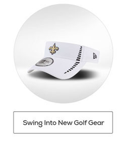 Golf-Style New Orleans Saints Visor Above Text That Reads: Swing Into New Golf Gear