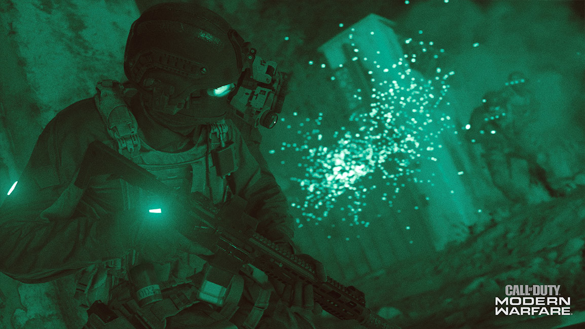 Call of Duty Modern Warfare screenshot showing night vision soldier fight