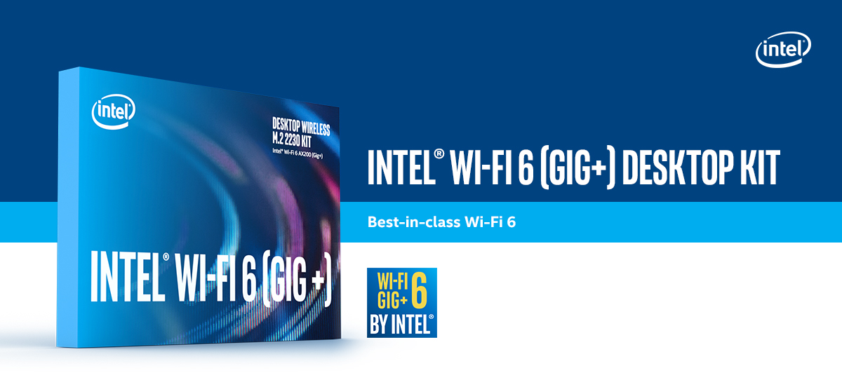 Hero banner: The box image of Wifi 6 Desktop Kit. Right beside it is the text which says 'Intel Wi-Fi 6 Desktop Kit'