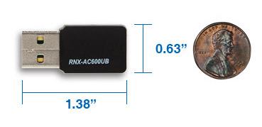 Rosewill RNX-AC600UB - Dual Band Wireless AC600 Adapter - IEEE 802 11AC a /  b / g / n, Up to 433 Mbps (5 0 GHz) + 150 Mbps (2 4 GHz) Wi-Fi Data Rates,