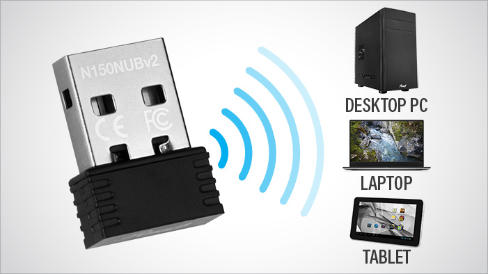 Rosewill RNX-N150NUBv2 sending wireless signals to a desktop PC, laptop and tablet