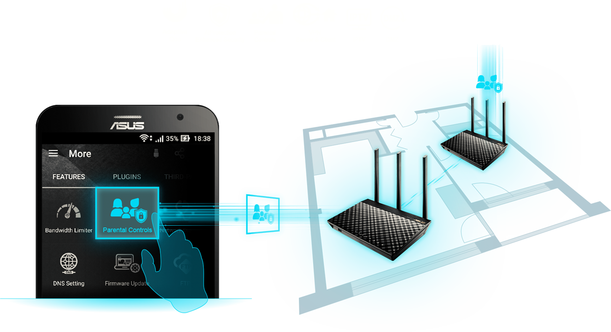 ASUS Smartphone with a Graphic Hand Selecting Parental Controls That's Connecting to Two ASUS AiMesh Devices in a Home Floor Plan Layout Graphic