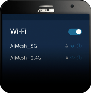 Top of an ASUS Smartphone Showing the Wi-Fi Network Options on Screen