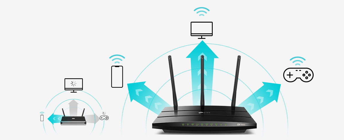 Graphic banner showing the Archer A9 connecting to more device icons than a traditional router