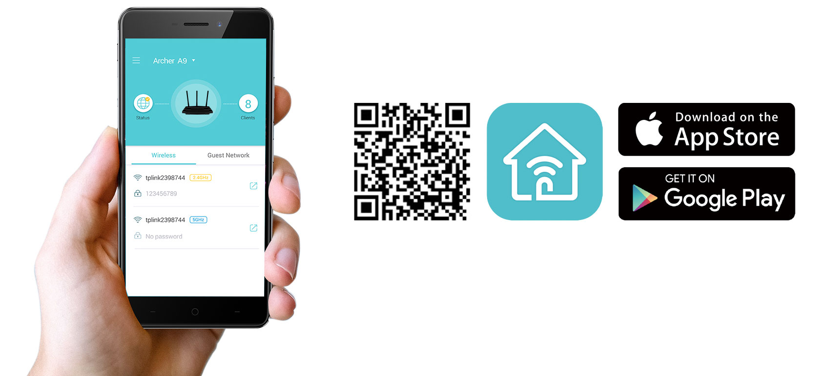 A hand holding up a smartphone with the Tether app open next to a QR code, home wi-fi icon and download on the app store + get it on google play badges